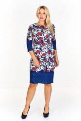 Ołówkowa sukienka z łączonych wzorów