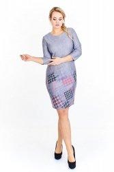 Taliowana sukienka z wzorzystą spódnicą