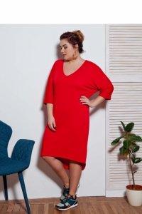 Miękka sukienka- tunika oversize TR1699 Red