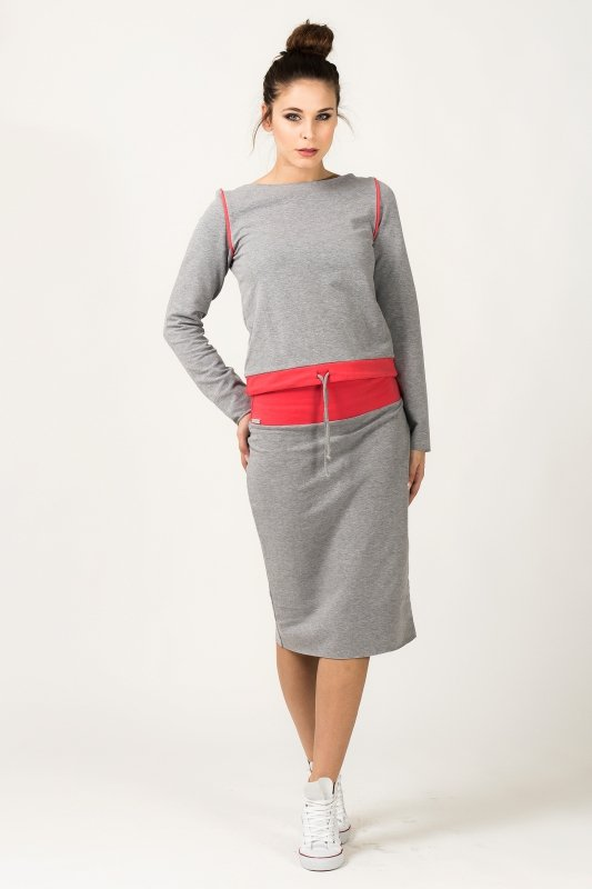 Bluza Damska Model Milena 7 Light Grey/Coral