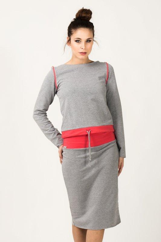 Spódnica Model Mila 7 Light Grey/Coral