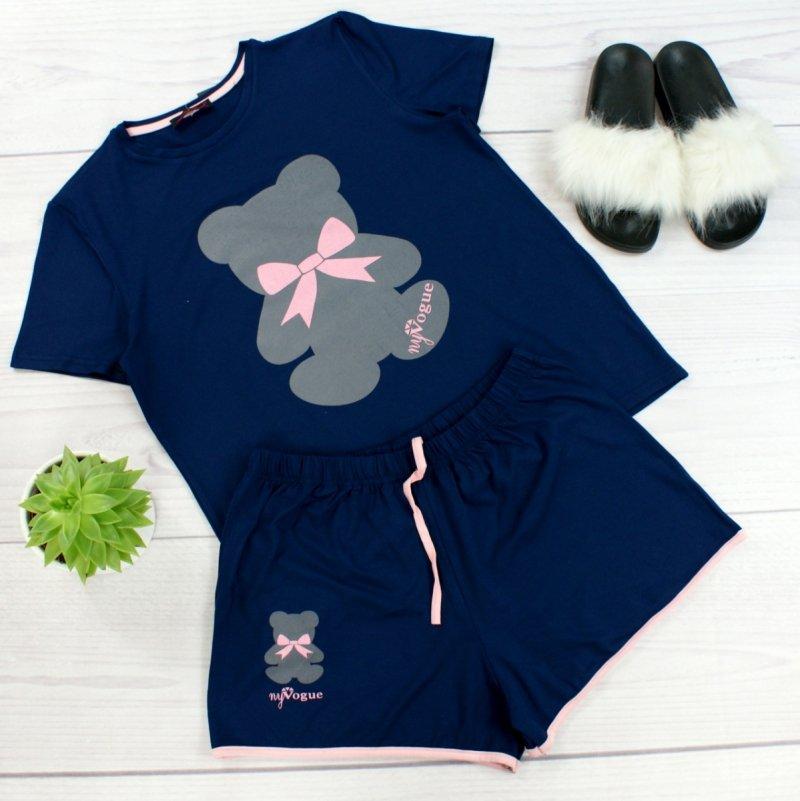 Szara piżama TEDDY krótkie spodenki