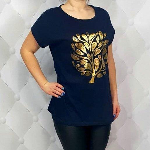 Czarna bluzka GOLD TREE krótki rękaw