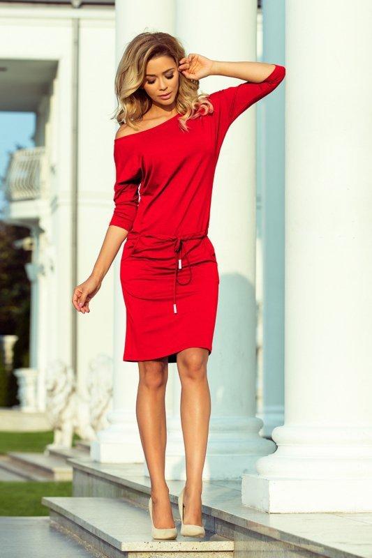 Sukienka dzienna L-XXL PLUS SIZE Model 13-96 Czerwona