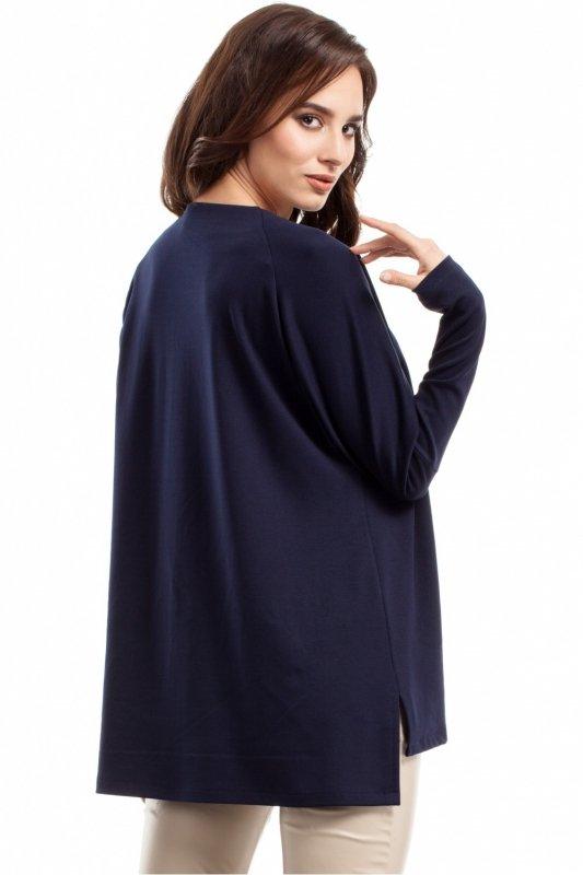 Bluzka damska PLUS SIZE L-XXXL MOE280 Granatowa Długi rękaw