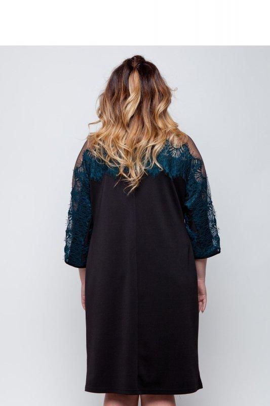 Elegancka-dzianinowa-sukienka-wykończona-koronką-TR1788-Green-sukienka-plus-size-XXL-duze-rozmiary-online-sklep-internetowy-tyl