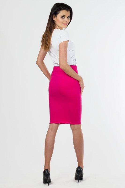 Spodnica-damska-36-46-dzianina-S-011-FUKSJA-do-pracy-plus-size-dla-puszystej