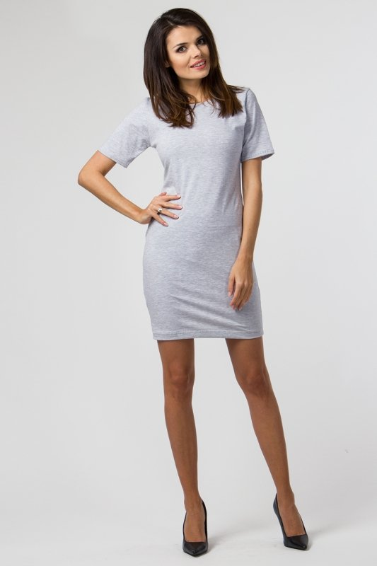 Sukienka dzianinowa M-034 Light Gray Melange