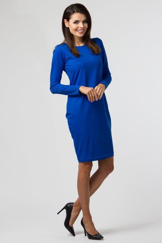 Sukienka-PLUS-SIZE-40-54-dla-puszystych-dzienna-z-dzianiny-NIEBIESKA-B-030-DUZE-ROZMIARY-bok
