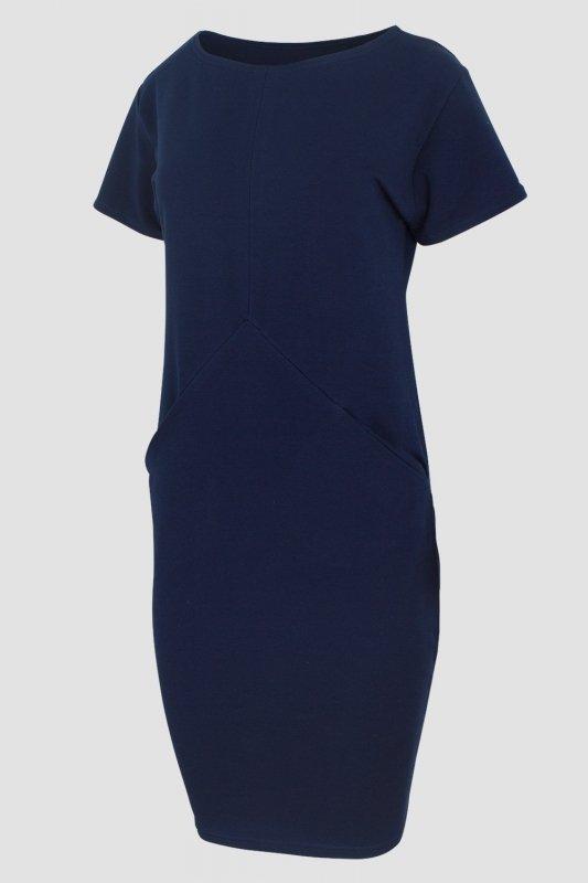 Sukienka PLUS SIZE 40-54 dresowa D-041 Navy DUŻE ROZMIARY