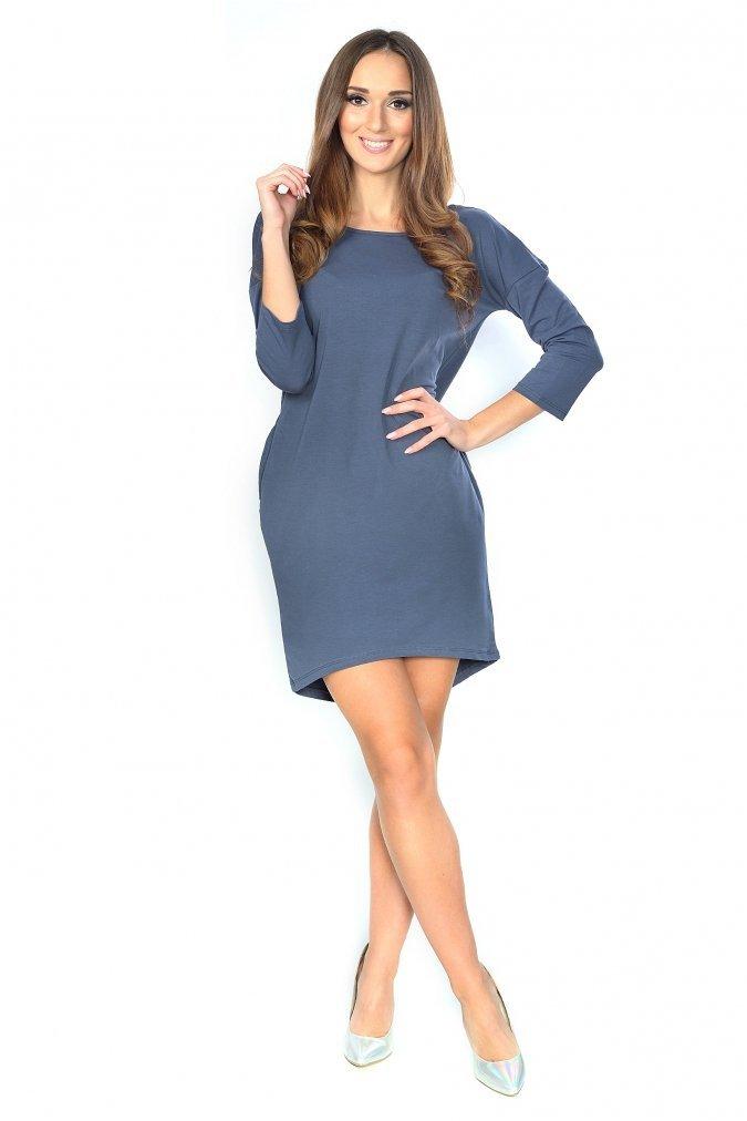Sukienka-plus-size-S-M-L-XL-XXL-3XL-ANGEL-dekolt-mlodziezowa-modna-grafit-szara-napis-przod-dla-puszystych