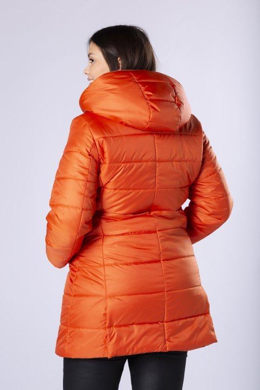 pikowany płaszcz z ozdobnym ekspresem przy kapturze