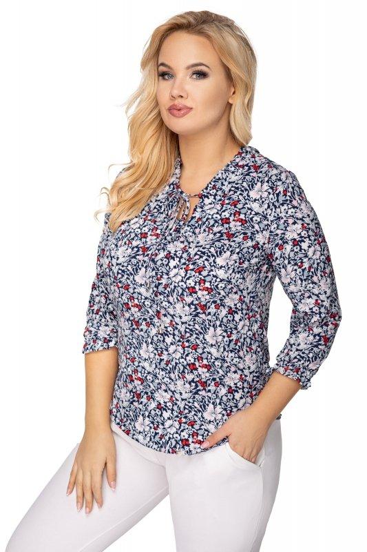 wzorzysta bluzka ze stójką i ozdobnym wiązaniem przy szyi