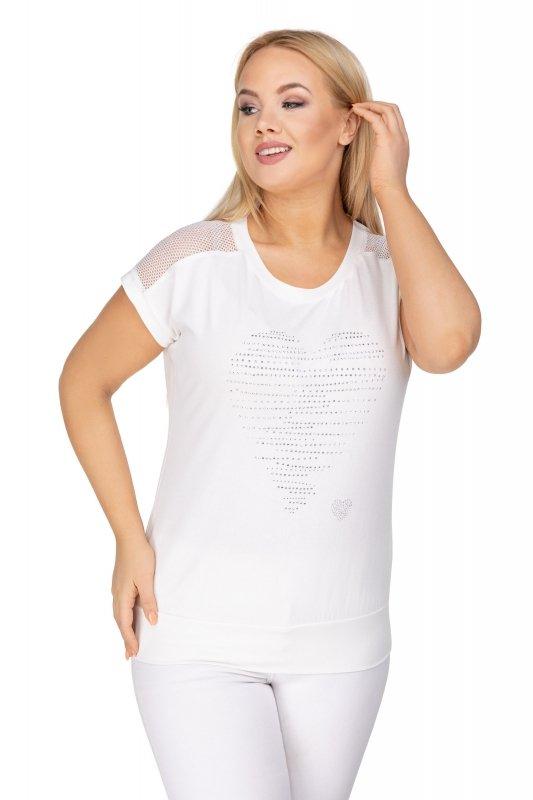 dzianinowa bluzka z krysztłkową aplikacją na biuście i siateczkową wstawką na ramionach