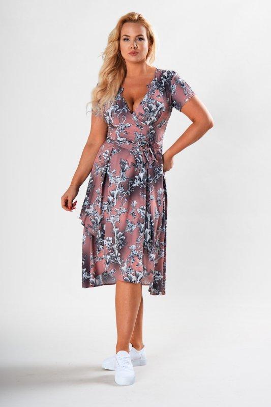 koktajlowa sukienka z wiązaniem w pasie i krótkim rękawem