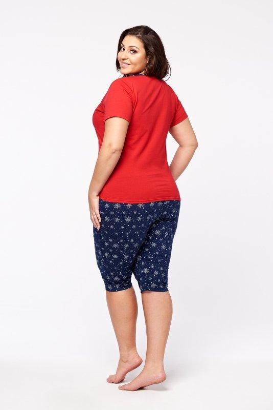 piżama z wzorzystymi spodniami i bluzką z krótkim rękawem