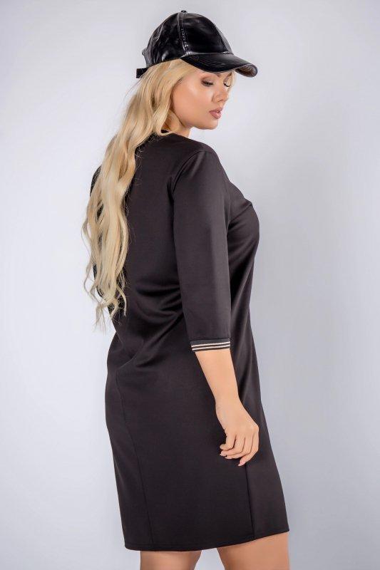 prosta sukienka z printem na piersi