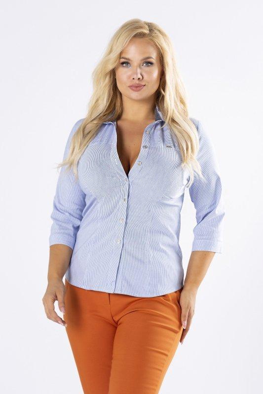 Koszula-damska-plus-size-LISA-w-prazki-z-rekawem-3/4-elegancka-do-biura-xl-xxl-kolnierz