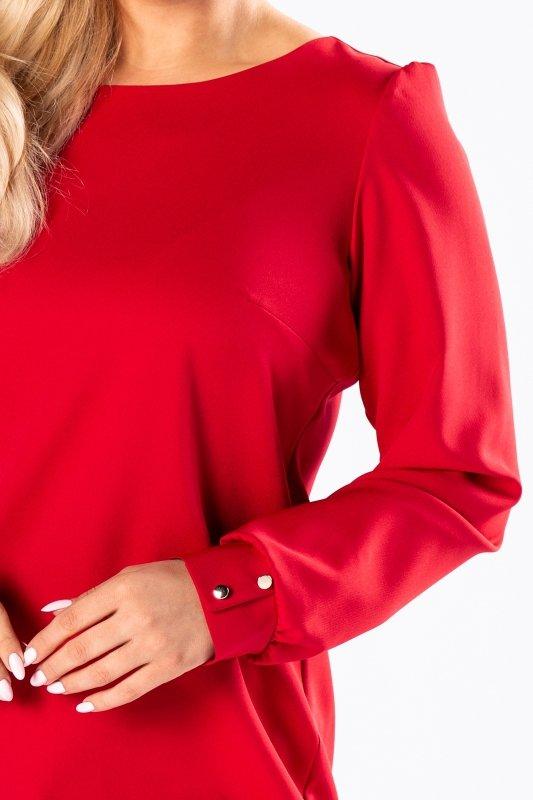 monochromatyczna sukienka o prostym kroju z bufkami na ramionach