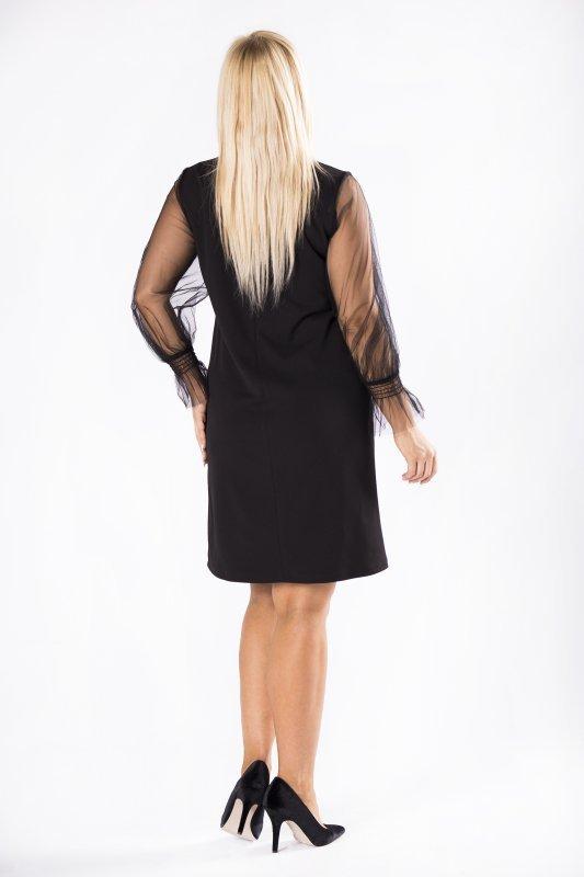 Czarna sukienka KLARA z tiulowymi rękawami