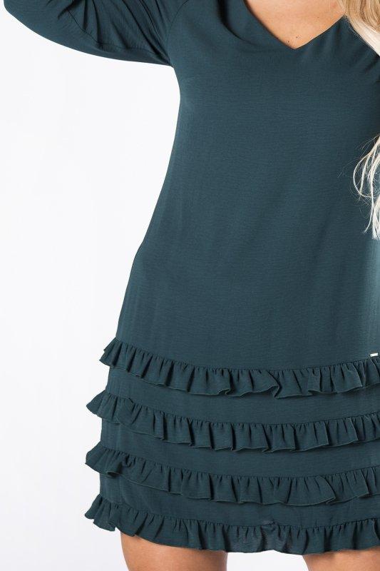 sukienka z falbanami na dole i dekoltem w serek