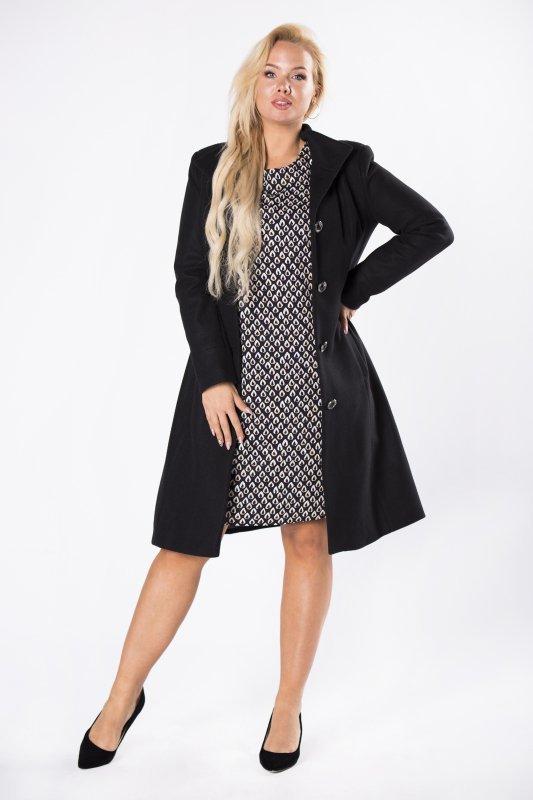 klasyczny płaszcz jednorzędowy z taliowaniem