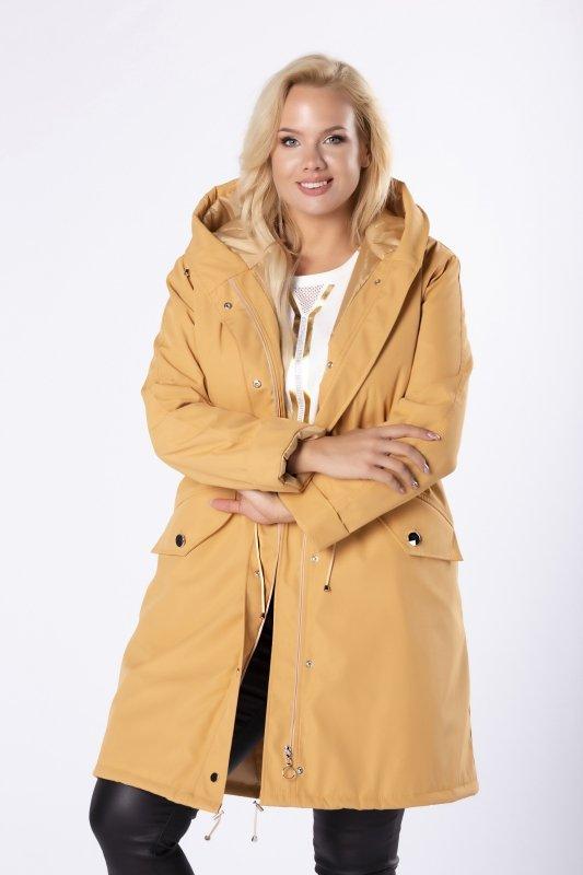 przeciwdeszczowy płaszcz z kapturem i ściągaczem w pasie