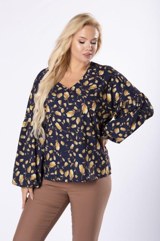 koszulowa bluzka z bufiastymi rękawami i dekoltem w serek