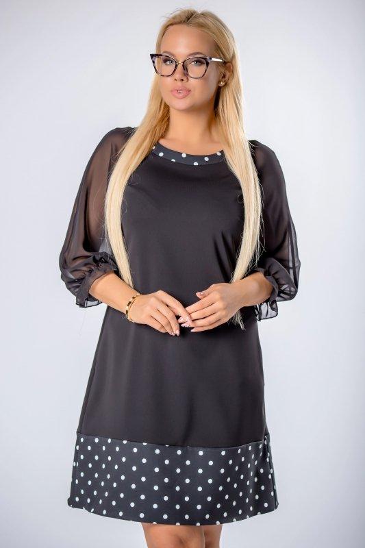 taliowana sukienka z tiulowymi rękawami i lamówką w groszki