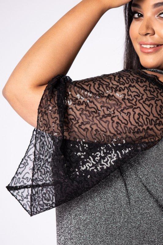 brokatowa sukienka maxi z rozcięciami na ramionach i tiulowymi rękawami