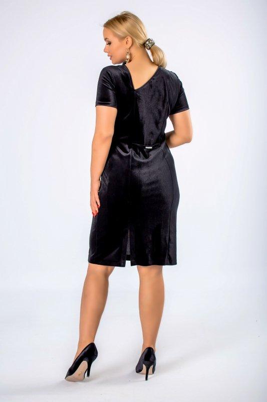 Sukienka welurowa WIRA dekolt na plecach