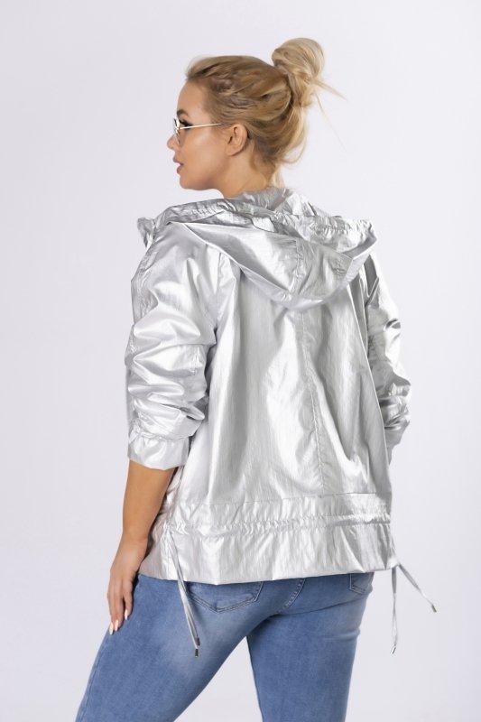 Metaliczna kurtka MIRABEL z kapturem