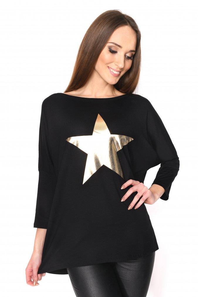 Bluzka-tunika-damska-PLUS-SIZE-S-M-L-XL-XXL-3XL-dla-puszystych-GOLD-STAR-modna-dlugi-rekawek-lodka-czarna-oversize-tanio