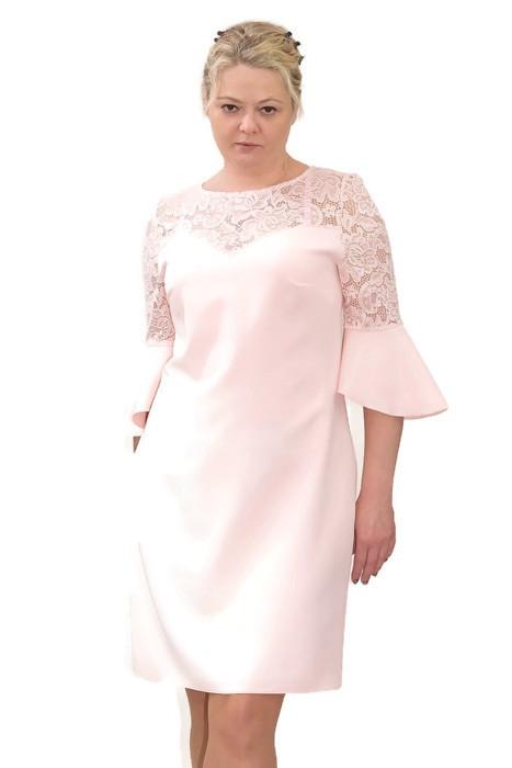 Elegancka-sukienka-xl-XXL-dla-puszystych-40-60-na-wesele-chrzest-komunia-PAOLA-pudrowy-roz-midi-rozszerzane-rekawy