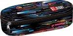 Piórnik szkolny ST.RIGHT czarny w kolorowe pasy, BETA STRIPES PC1 (17980)