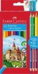 Kredki Zamek FABER CASTELL 12 kolorów + 3 kredki dwustronne + temperówka (FC110312)