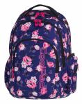 Plecak szkolny młodzieżowy COOLPACK SPARK 2 granatowy w pastelowe róże, ROSE GARDEN 806 (74971)