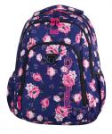 Plecak szkolny młodzieżowy COOLPACK STRIKE granatowy w pastelowe róże, ROSE GARDEN 807 (74988)