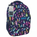 Plecak szkolny młodzieżowy Back UP kolorowe piórka FEATHERS + słuchawki (PLB1C24)