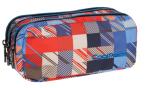 Piórnik trzykomorowy saszetka COOLPACK PRIMUS w kolorowe kwadraty, MOTION CHECK 892 (68994)