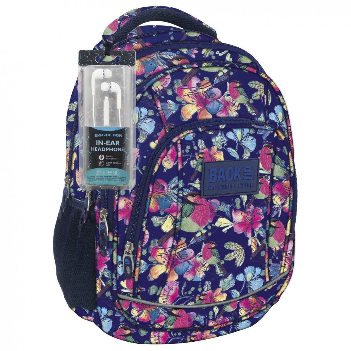 a07cd59712e0b Plecak szkolny młodzieżowy Back UP pastelowe kwiaty SPRING + słuchawki  (PLB1A4)