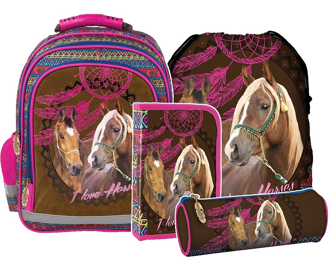 21854b180f80f ZESTAW 4 el. Plecak szkolny I LOVE HORSES Konie (PL15BKO16SET4CZ ...