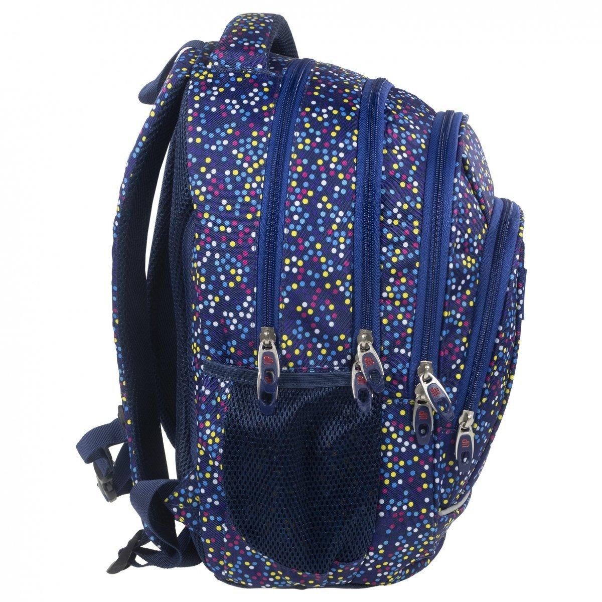 970bfd9508897 Plecak szkolny młodzieżowy Back UP kolorowe kropki MULTICOLOR DOTS +  słuchawki (PLB1A3)