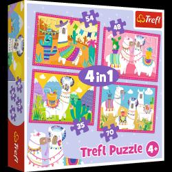 TREFL Puzzle 4 w 1 Lamy na wakacjach (34322)
