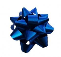 Rozetka wstążka do pakowania prezentów NIEBIESKA 8,5 cm