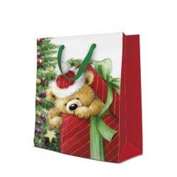 Torebka świąteczna TEDDY BEAR rozm L, Paw (AGB2000902)