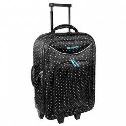 MAŁA walizka podróżna czarna w grochy (19924A)