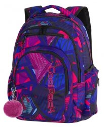 Plecak CoolPack FLASH granatowy w różowe wzory, CRAZY PINK ABSTRACT + pompon (87575CP)