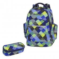 ZESTAW 2 el. Plecak CoolPack BRICK niebiesko zielona krata, BLUE PATCHWORK (81662CPSET2CZ)