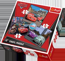 TREFL Puzzle 3 w 1 AUTA CARS, Podróż wokół Europy (34105)